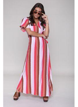 Ava Stripe Maxi Wrap Dress Multicolor
