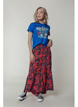 Rive Roses Maxi Skirt   Bright red