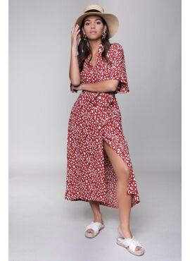 Sia Leopard Button Down Midi Dress Red White