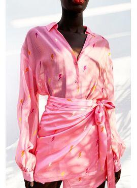 Pink Lightning Bolt Oversized Shirt