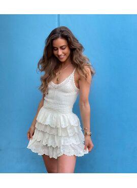 Nuna Broderie Anglasie Layer Mini Skirt White
