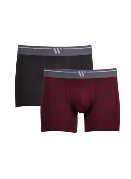 Woody Heren Short Duo Anthraciet+Bordeaux Wolven Geprint