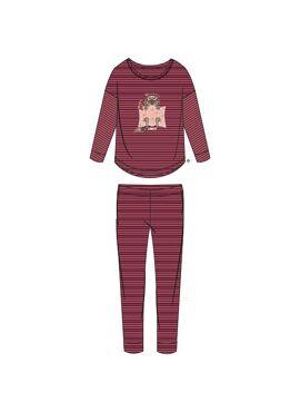 Woody Meisjes-Dames Pyjama Oudroze-Bordeaux Gestreept