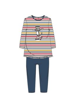 Woody Meisjes Pyjama Multicolor Gestreept