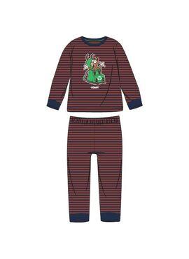 Woody Jongens Pyjama Donkerblauw-Roest Gestreept