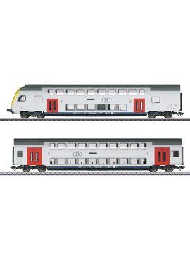 Marklin 43573 / set van 2 dubbeldeks-rijtuigen 2e klasse van de NMBS/SNCB.