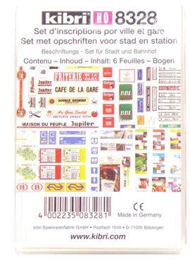 Kibri 8328 / Set met opschriften voor stad en station (Belgisch)