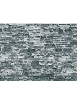 Vollmer 46055 / H0 Wall plate, natural stone grey of cardboard,25 x 12,5 cm, 10 pcs.