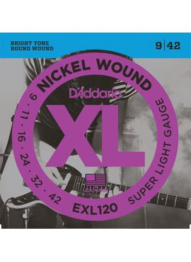 D'Addario EXL120 Nickel Wound Electric Guitar Strings Super Light 9-42