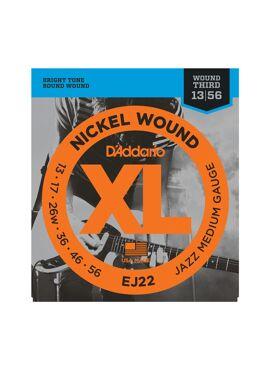 D'Addario EJ22 Nickel Wound Electric Guitar Strings Jazz Medium 13-56