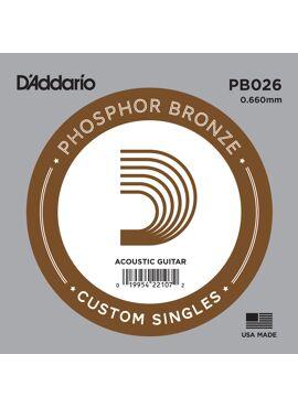 D'Addario PB026 Phosphor Bronze Wound Acoustic Guitar Single String .026