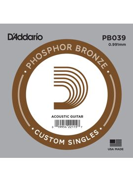 D'Addario PB030 Phosphor Bronze Wound Acoustic Guitar Single String .039