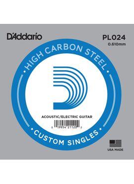 D'Addario PL024 Plain Steel Guitar Single String .024