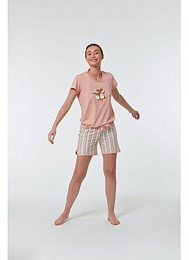 Woody Meisjes-Dames Pyjama Lichtroze