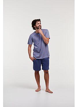 Woody Heren Pyjama Blauw Beige Gestreept