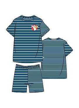 Woody Jongens-Heren Pyjama Blauw-Gebroken Wit Gestreept