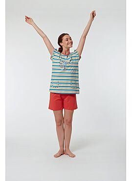 Woody Meisjes-Dames Pyjama Multicolor Gestreept