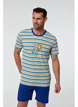 Woody Jongens-Heren Pyjama Multicolor Gestreept