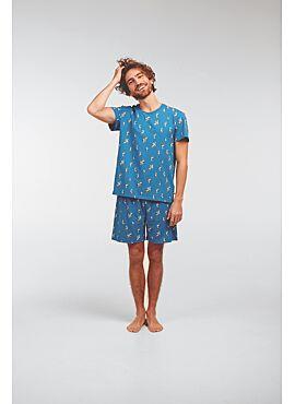 Woody Jongens-Heren Pyjama Blauw Meeuwen