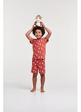 Woody Jongens-Heren Pyjama Donkerrood Cavia