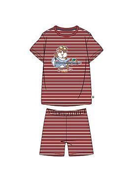 Woody Jongens-Heren Pyjama Donkerrood-Gebroken Wit Gestreept