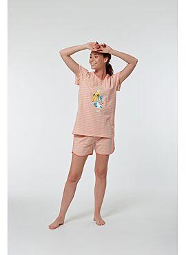 Woody Meisjes-Dames Pyjama Koraalroze-Gebroken Wit  Gestreept