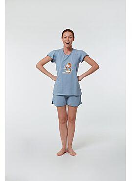 Woody Meisjes-Dames Pyjama Blauw-Gebroken Wit Gestreept