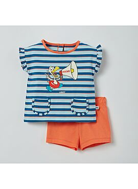 Little Woody Meisjes Pyjama Blauw-Rood Gestreept