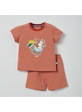 Little Woody Unisex Pyjama Donkerrood-Gebroken Wit Gestreept