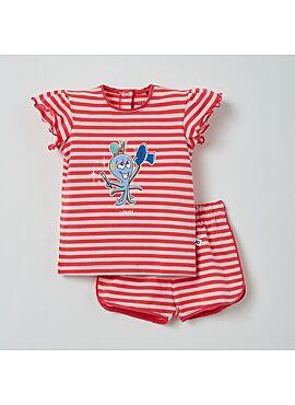 Little Woody Meisjes Pyjama Roze Gestreept