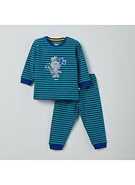 Little Woody Unisex Pyjama Blauw-Groen Gestreept