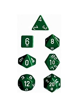 Opaque Polyhedral 7-Die Sets - Green w/white