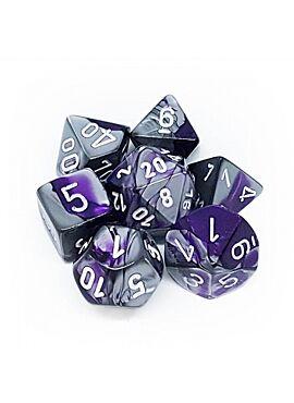 Gemini Polyhedral 7-Die sets purple-steel  w/white 26432