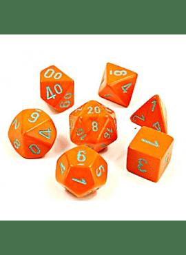 Lab Dice 4 - 7 Die Set Heavy Dice Polyhedral Orange/turquoise