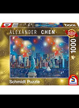 Puzzel Vuurwerk bij het Vrijheidsbeeld, 1000 stukjes