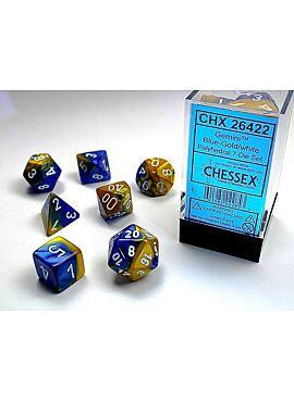 Gemini Polyhedral 7-Die sets Blue-Gold w/white 26422