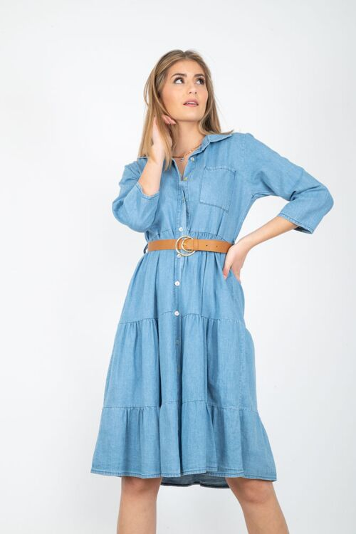 DENIM DRESS FRULLS