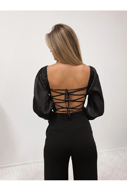 LACE UP SATIN TOP