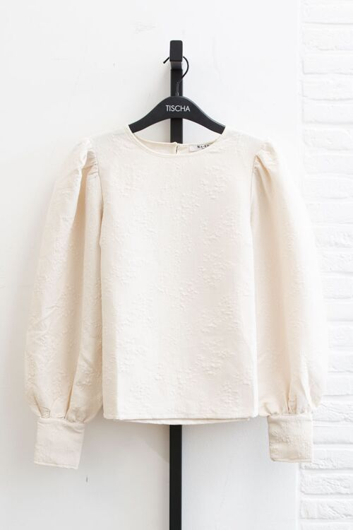 STRUCTURED BIG PUFF SLEEVE BLOUSE