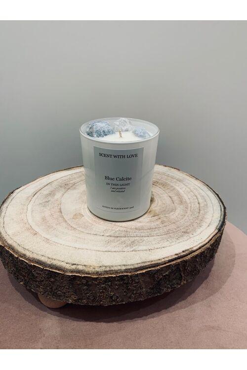 Witte kaars 300gr / Calcite / Cotton de fleur