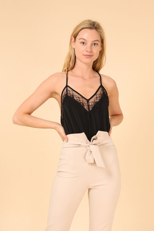 Lace open back top