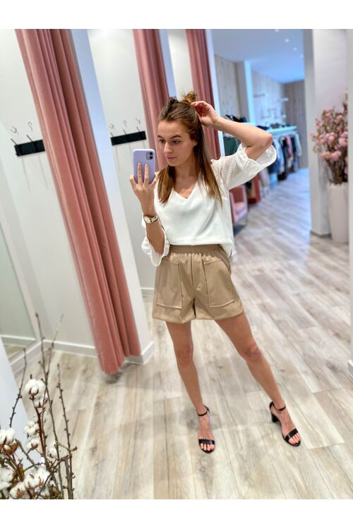 Willow Leatherlook shorts camel