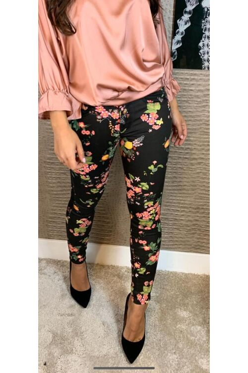 Jeans black flower just dai
