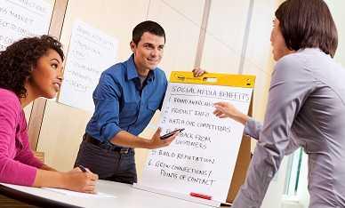 Presentatie geven met een witbord, krijtbord of flipchart.